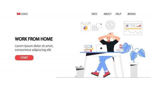 Freelance, educación en línea o concepto de redes sociales. concepto de oficina en casa, mujer que trabaja desde casa con el portátil. vector de estilo plano