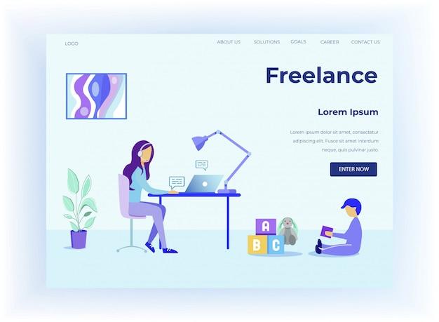 Freelance en la página de inicio de diseño de licencia de maternidad