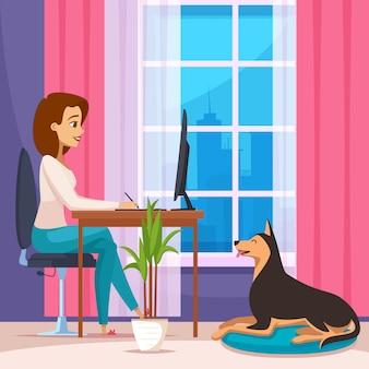 Freelance trabajando en casa