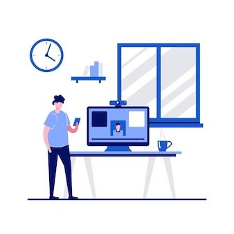 Freelancer en casa con carácter trabajando