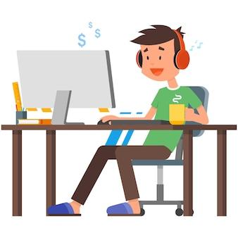 Freelancer con computadora en la ilustración de vector de oficina en casa