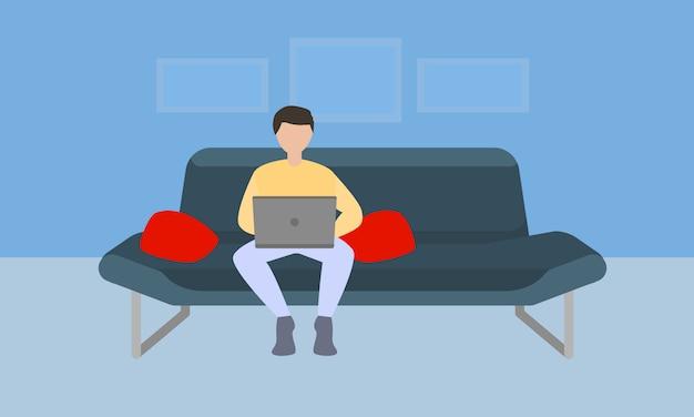 Freelancer en concepto de sofá en estilo plano