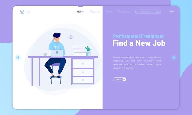 Freelancer de diseño plano, encuentre nuevas ilustraciones de trabajo en la plantilla de página de destino