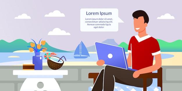 Freelancer hombre sentado en el café en resort cartoon