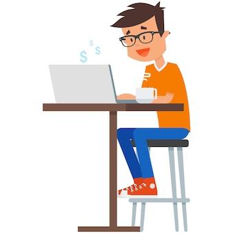 Freelancer con laptop en la ilustración de vector de mesa de café