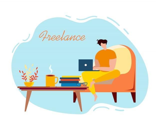 Freelancer masculino de dibujos animados sentarse en el sillón con el cuaderno