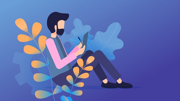 Freelancer sit use tablet comunicación en línea
