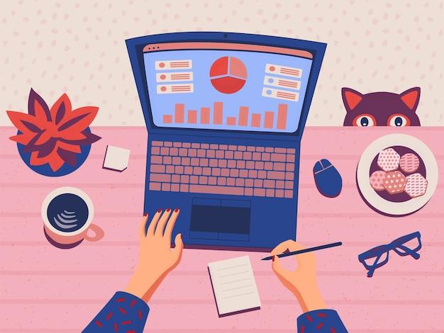 Freelancer trabajando desde casa en análisis de datos manos femeninas escribiendo en la computadora portátil