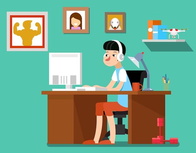 Freelancer en el trabajo, diseñador freelance creativo con computadora, tecnología web, empleado en el lugar de trabajo. ilustración de vector de autónomo