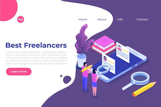 Freelancers servicio concepto isométrico con lugar de texto. plantilla de página de destino.