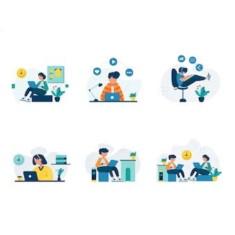 Los freelancers trabajan y discuten en escenas de coworking.