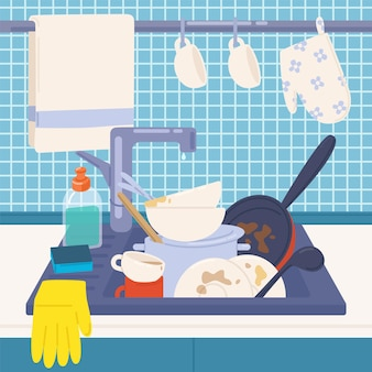 Fregadero de la cocina lleno de platos sucios o utensilios de cocina para lavar, detergentes, esponja y guantes de goma.