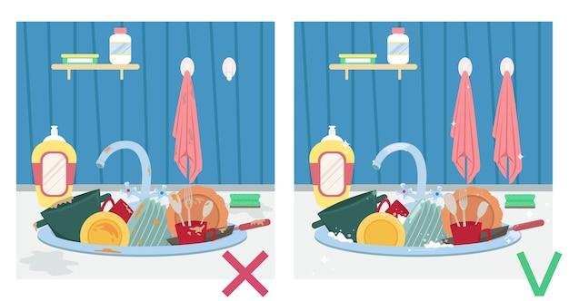 Fregadero de cocina con platos sucios y platos limpios. ilustración antes y después. tareas del hogar.