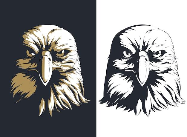 Frente de cabeza de águila silueta aislado
