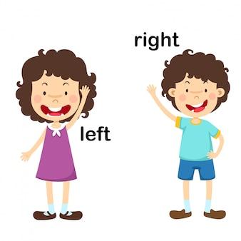 Frente a la ilustración vectorial izquierda y derecha