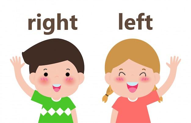 Frente a izquierda y derecha, niña a la izquierda y niño a la derecha en la ilustración blanca