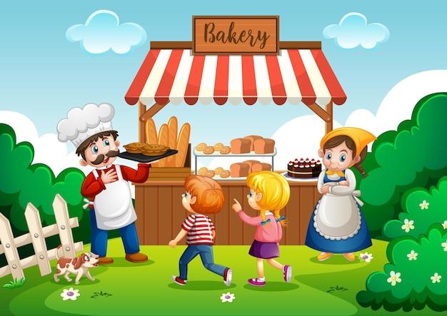 Frente de la panadería con panadero en la escena del parque