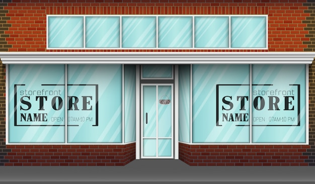 Frente de tienda de diseño plano con lugar para nombre de tienda