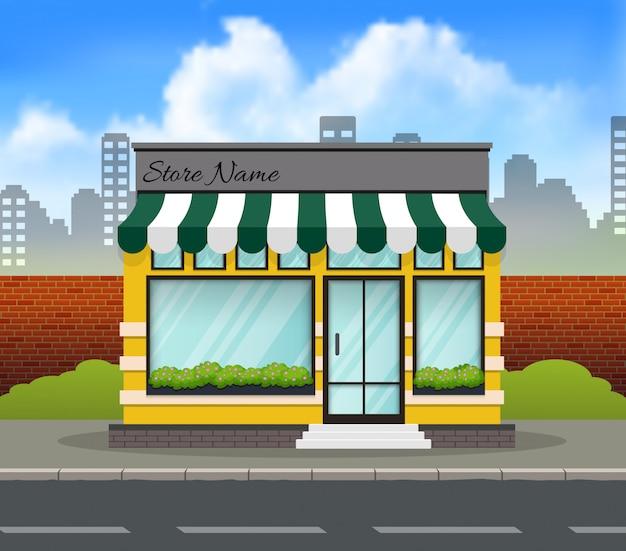 Frente de tienda de diseño plano con lugar para nombre.