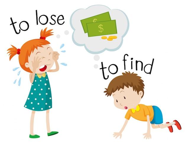 Frente a wordcard para perder y encontrar