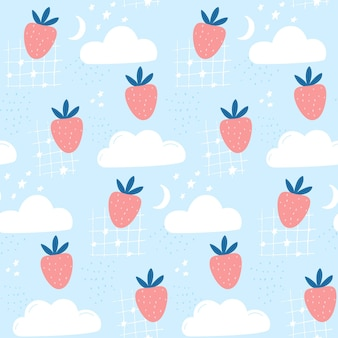 Fresa en el cielo, patrón lindo para niños para tela y papel tapiz. fondo transparente con nubes, luna y estrellas.