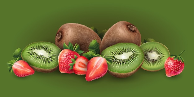 Fresa y kiwi