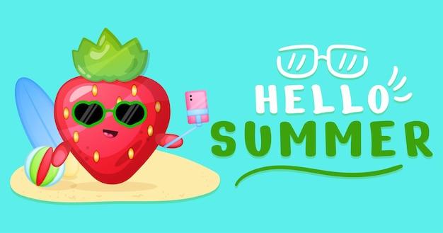 Fresa linda con banner de saludo de verano