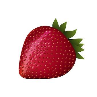 Fresa madura roja sobre blanco