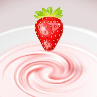 Fresa sobre yogur twist