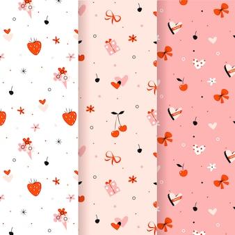 Fresas y cintas de patrones sin fisuras de san valentín