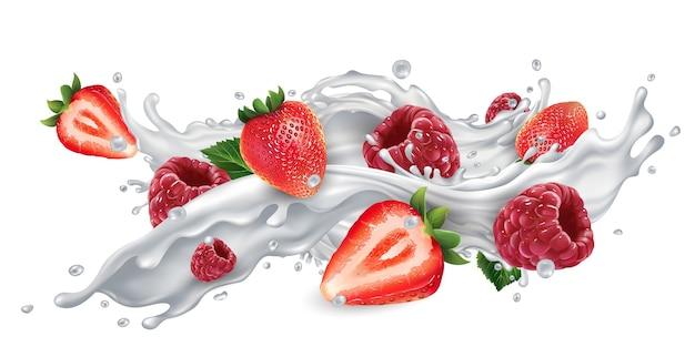 Fresas y frambuesas frescas en un chorrito de leche o yogur sobre un fondo blanco.