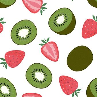 Fresas y kiwi. patrones sin fisuras en blanco. cortar y frutas y bayas enteras. ilustración de vector plano. textura para impresión, tela, textil, papel tapiz.