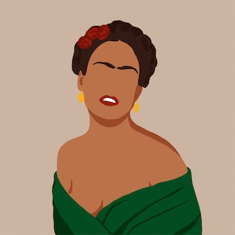 Frida kahlo, mujer, ilustración de estilo plano