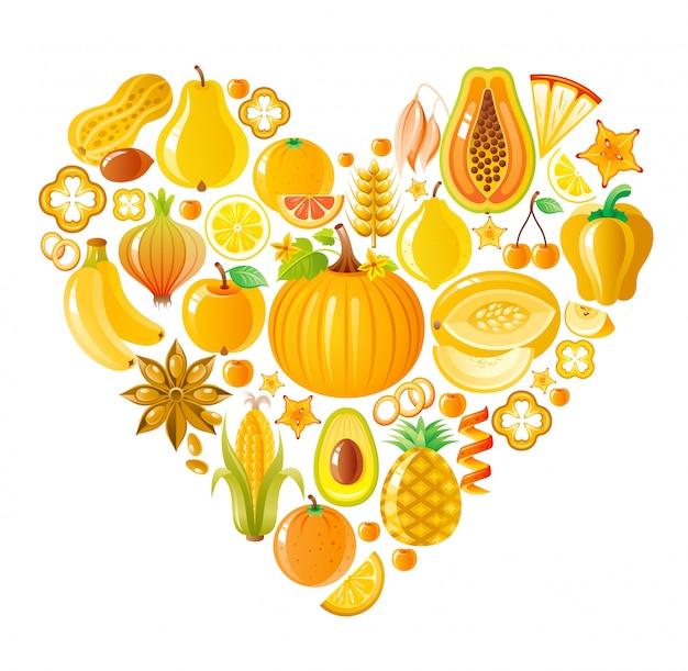 Friuts y verduras saludables corazón amarillo, comida orgánica