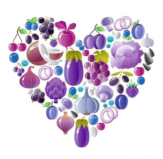 Friuts y verduras saludables corazón azul violeta, comida orgánica