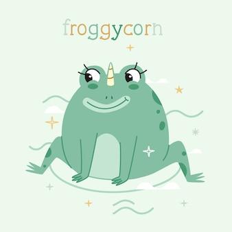 Froggycorn estilo plano estilizado. paleta de colores pastel moderna.