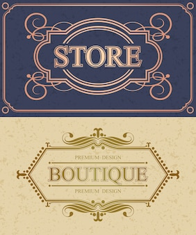 Frontera caligráfica de tienda y boutique