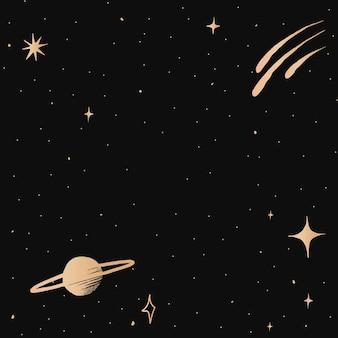 Frontera de cielo estrellado de vector de oro de la galaxia de saturno sobre fondo negro