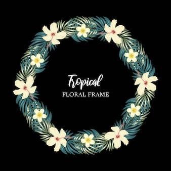 Frontera de círculo de flor tropical