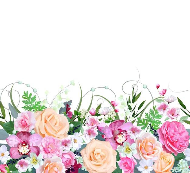 Frontera sin costuras con hermosas flores