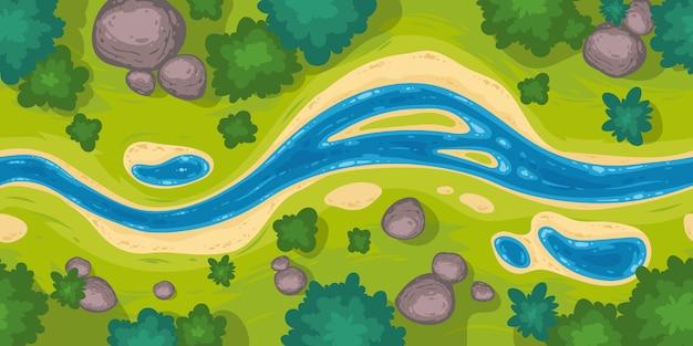 Frontera sin costuras con vista superior del río