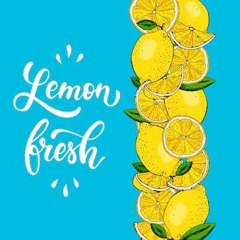 Frontera creativa de limones dibujados a mano.