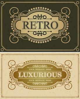Frontera de diseño de lujo retro caligráfico