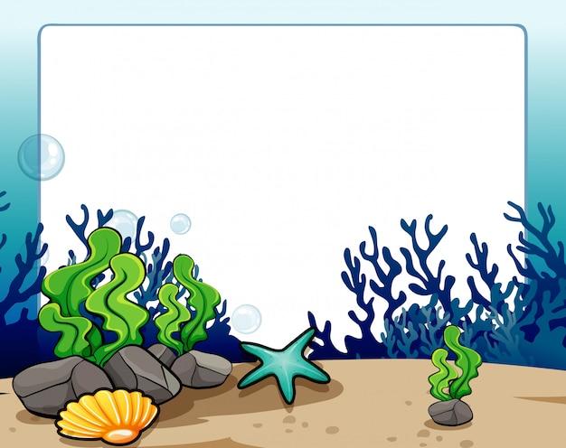 Frontera con escena submarina