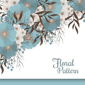 Frontera de flor floral verde menta