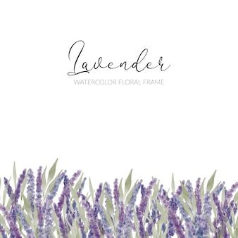 Frontera de flor de lavanda púrpura acuarela pintada a mano
