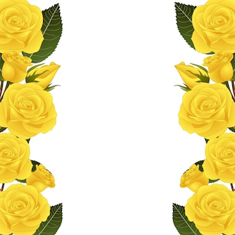 Frontera de flor rosa amarilla