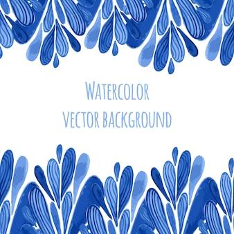 Frontera floral azul en el estilo ruso o de holanda. plantilla de vecor con decoración de acuarela. puede ser utilizado para tarjetas de felicitación, pancartas, recuerdos