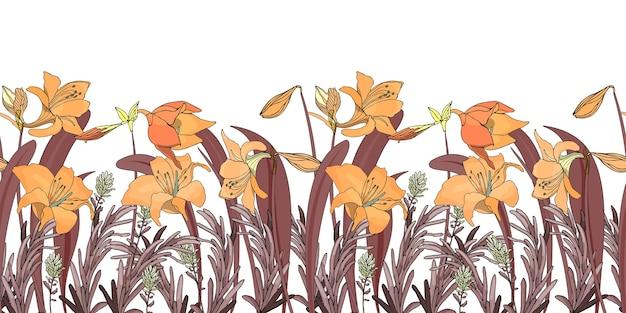 Frontera floral sin costuras flor de fondo de patrones sin fisuras