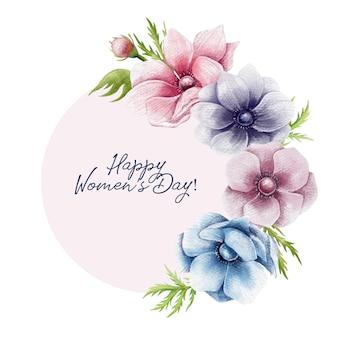 Frontera floral del día de la mujer feliz